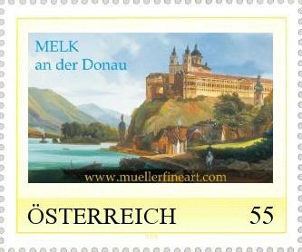 "Stamp: ""Ancient view of Melk"""